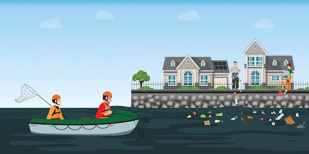 Des hommes volontaires récupèrent une rivière en bateau. Vecteur Premium