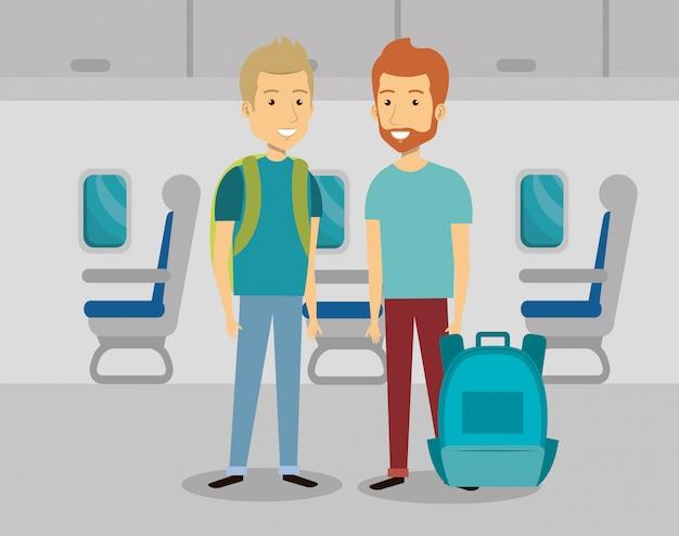 Hommes voyageurs dans l'avion Vecteur gratuit