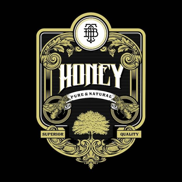 Honey bee illustration étiquette vintage et logo gravure avec ornement rétro au design décoratif antique de style rococo Vecteur Premium