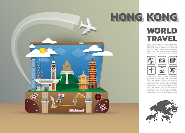 Hong Kong Landmark Global Travel And Journey Infographic Bagages 3d Design Vecteur Premium