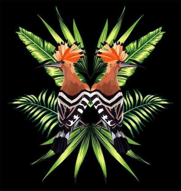 Hoopoe et feuilles tropicales reflet miroir Vecteur Premium