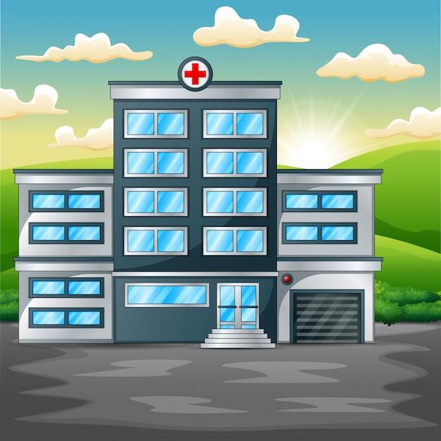Hôpital construisant sur un paysage verdoyant le matin Vecteur Premium