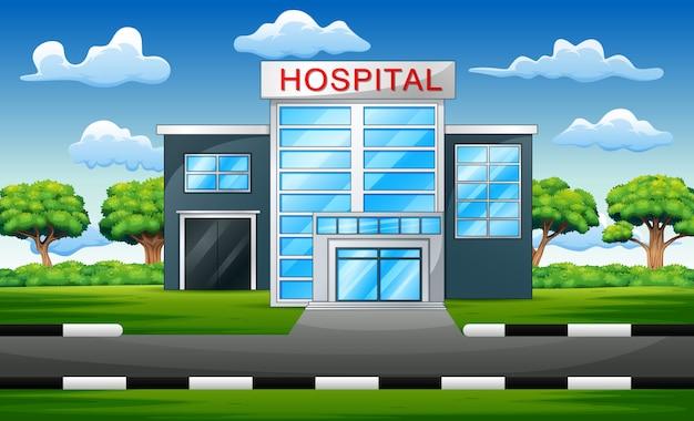 Hôpital, extérieur, clinique moderne, vue Vecteur Premium