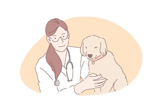 Hôpital Vétérinaire, Clinique Vétérinaire, Concept De Soins De Santé Pour Animaux De Compagnie Vecteur Premium