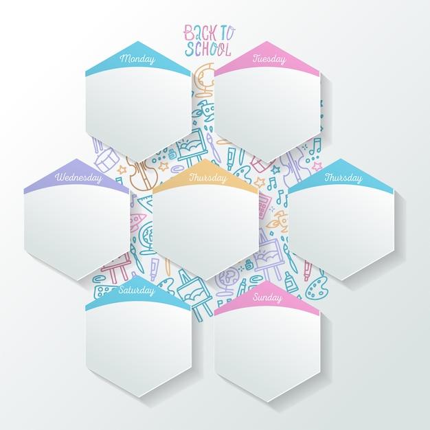 Horaire des activités au jour le jour avec des feuilles réalistes en forme d'hexagone. organisateur de la semaine conceptuelle. Vecteur Premium