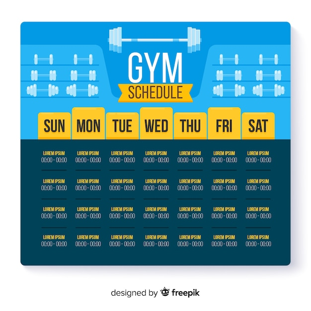 Horaire hebdomadaire moderne de gym avec design plat Vecteur gratuit