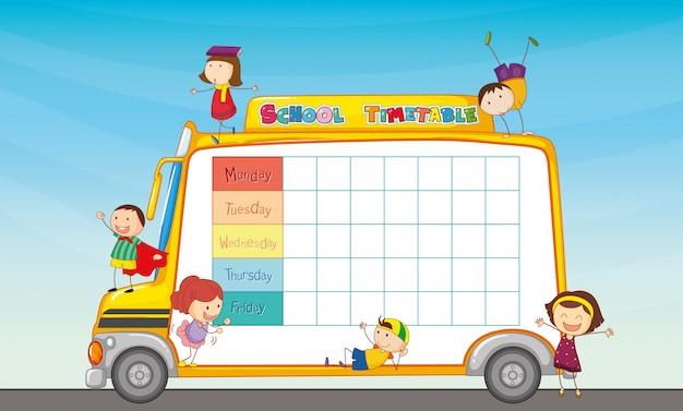 Horaire scolaire sur le bus scolaire Vecteur gratuit