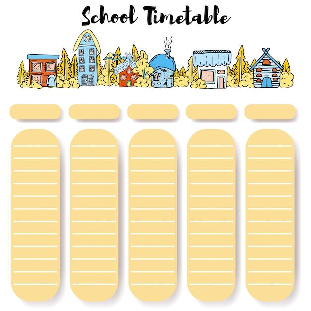 Horaires de l'école retour à l'école. Vecteur Premium