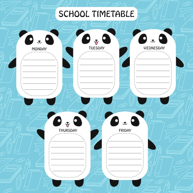 Horaires panda Vecteur Premium