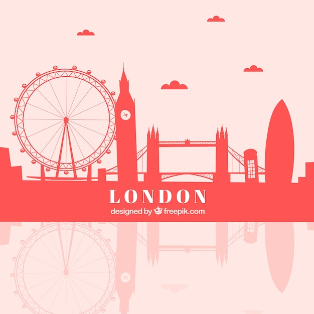 Horizon rouge de londres Vecteur gratuit