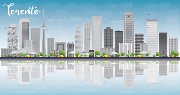 Horizon De Toronto Avec Des Bâtiments Gris, Ciel Bleu Et Reflet. Vecteur Premium