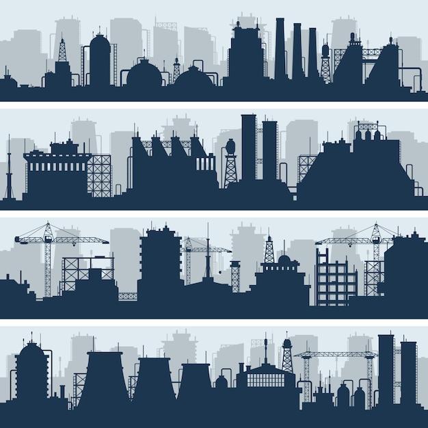 Horizons de vecteurs industriels. usine moderne et travaux de construction de silhouettes Vecteur Premium
