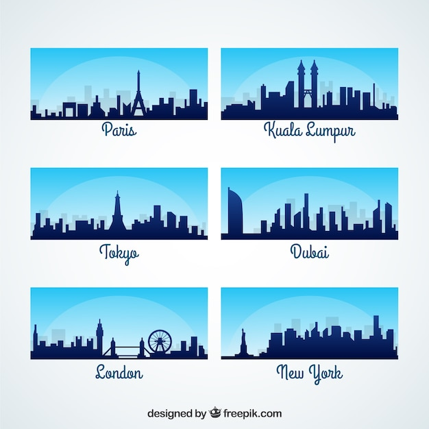 Horizons de la ville internationales Vecteur gratuit