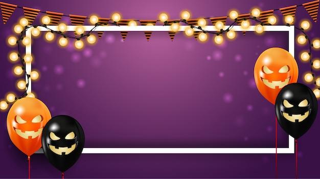 Horizontal Modèle Halloween Violet Avec Guirlande Vecteur Premium
