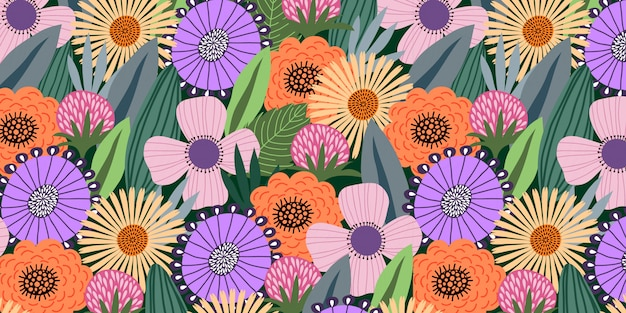 Horizontal modèle sans couture avec des fleurs mignonnes doodle et feuilles sur fond sombre, Vecteur Premium
