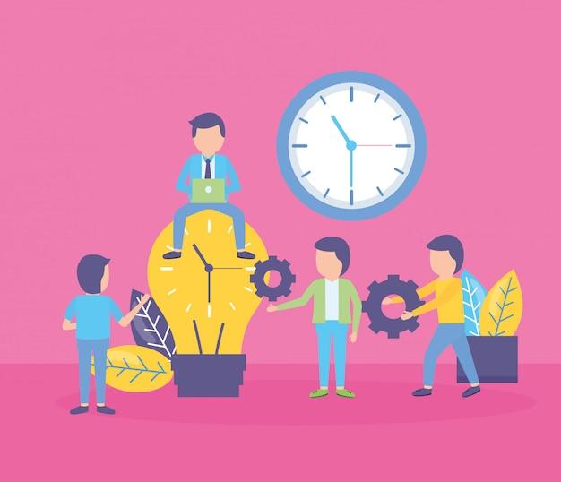 Horloge à Ampoule De Gens D'affaires Vecteur gratuit