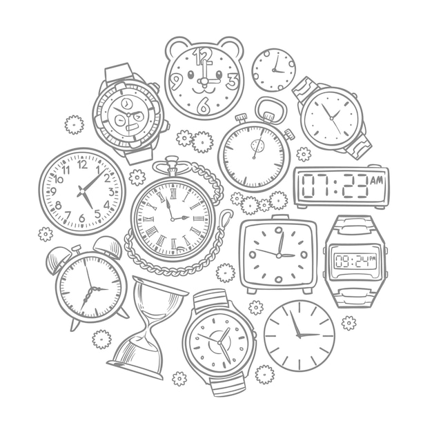 Horloge dessinée à la main, montre-bracelet doodles notion de vecteur de temps. illustration du croquis de l'horloge et de la montre au poignet Vecteur Premium