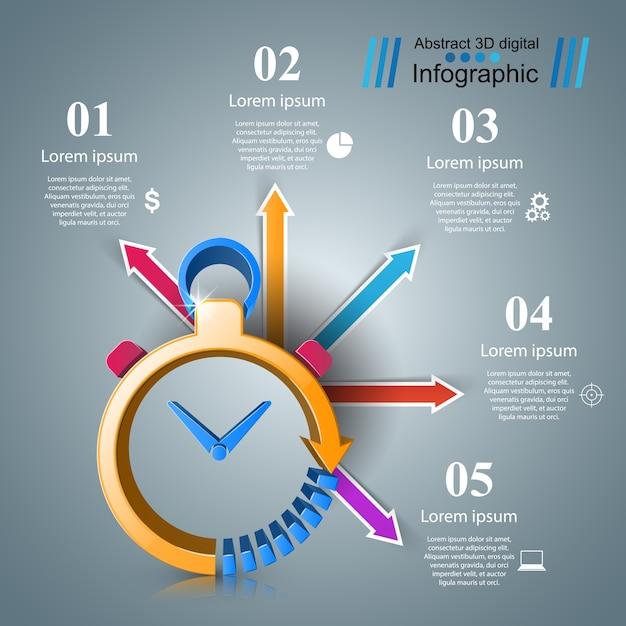 Horloge Infographique Vecteur Premium