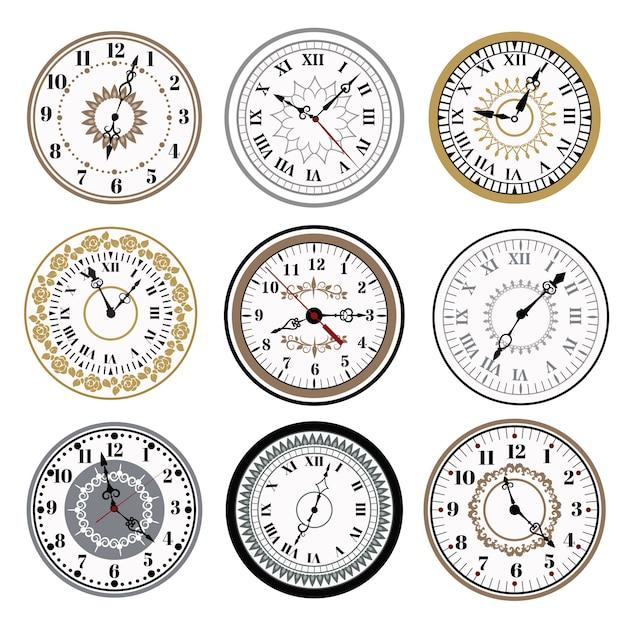 Horloge montre alarmes vector illustration icônes Vecteur Premium