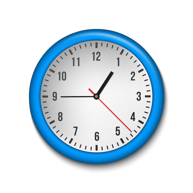 Horloge murale classique, heure, dans le sens des aiguilles d'une montre. Vecteur Premium