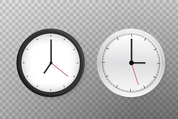 Horloge murale ronde classique noir et blanc simple. Vecteur Premium