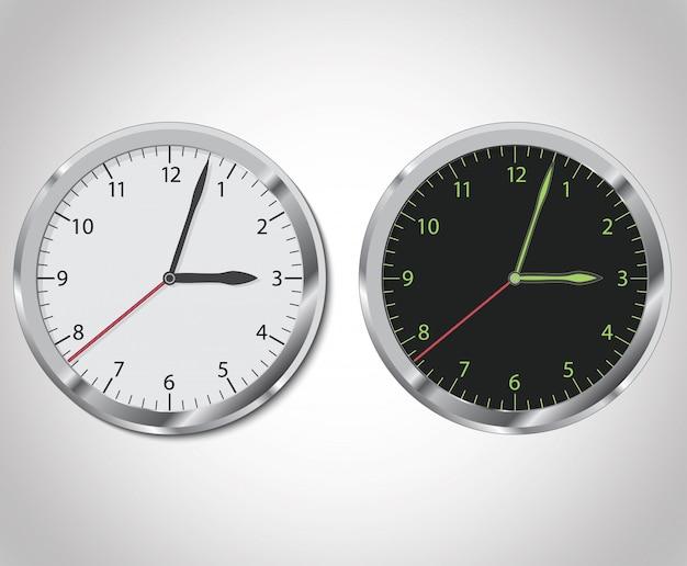 Horloge en noir et blanc Vecteur Premium