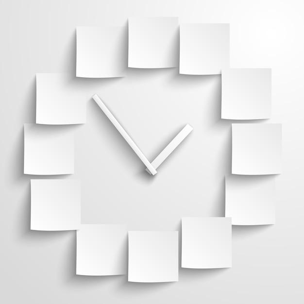 Horloge papier abstraite Vecteur gratuit