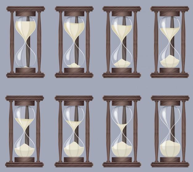 Horloge de sable réaliste sandglass Vecteur Premium