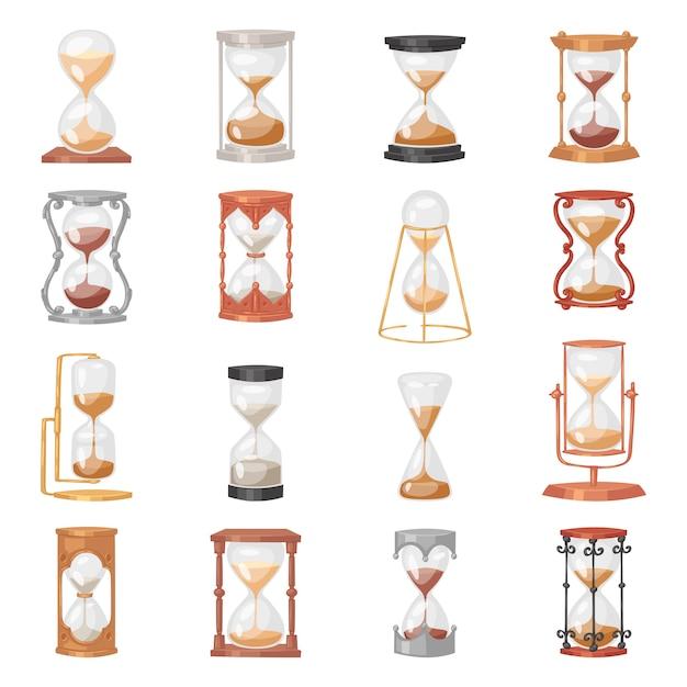 Horloge En Verre Sablier Avec Sable Qui Coule Et Sablier Cadencé Dans L'illustration Du Temps Horloge De Minuterie D'alarme Pour Le Compte à Rebours Réglé Sur Fond Blanc Vecteur Premium
