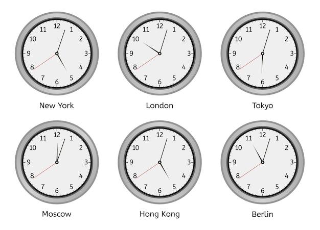 Horloges De Fuseau Horaire. Horloge Ronde Murale Moderne, Horloge De Jour Et De Nuit De Fuseaux Horaires, Jeu D'illustrations De Différence De Temps De Grandes Villes Du Monde. Zone Murale De L'horloge, Heure De L'hôtel Berlin, Hong Kong Et Moscou Vecteur Premium