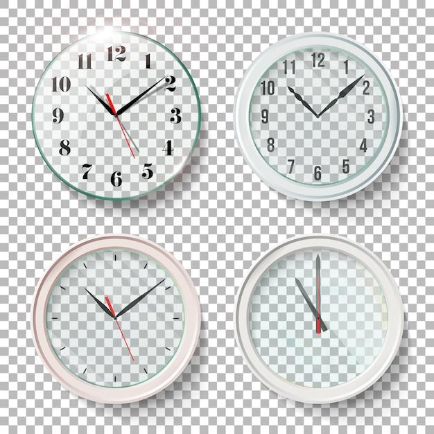 Horloges murales réalistes Vecteur Premium
