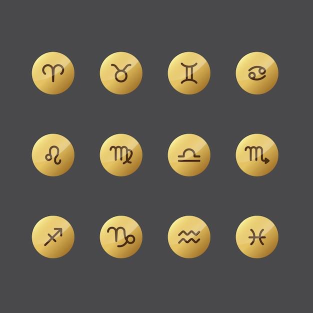 Horoscope icon collection Vecteur gratuit