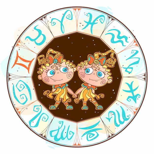 Horoscope pour les enfants Vecteur Premium