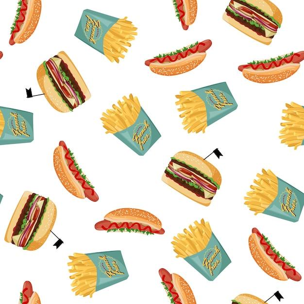Hot-dog, Frites Et Modèle Sans Couture De Hamburger. Fond Coloré De Fastfood. Vecteur Premium
