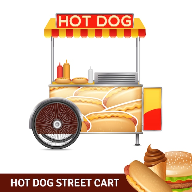 Hot dog street cart illustration Vecteur gratuit
