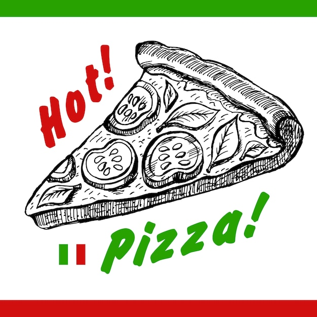 Hot Pizza Illustration Vecteur gratuit