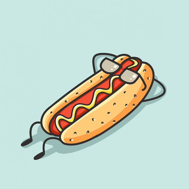 Hotdog cartoon relax Vecteur Premium