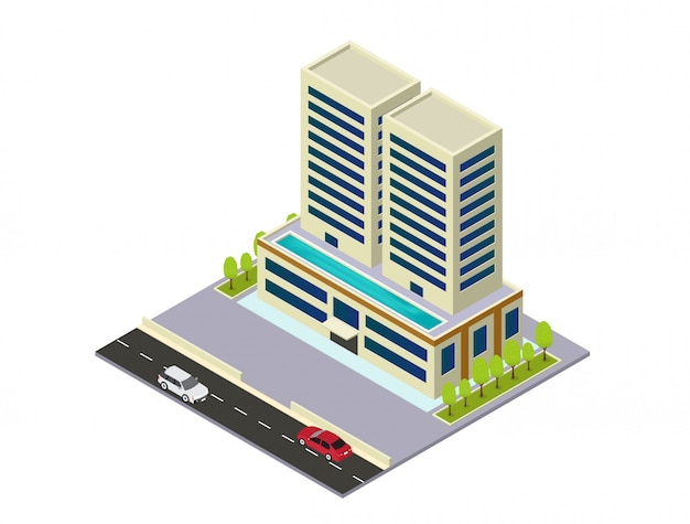 Hôtel, appartement ou bâtiment de gratte-ciel isométrique de vecteur Vecteur Premium