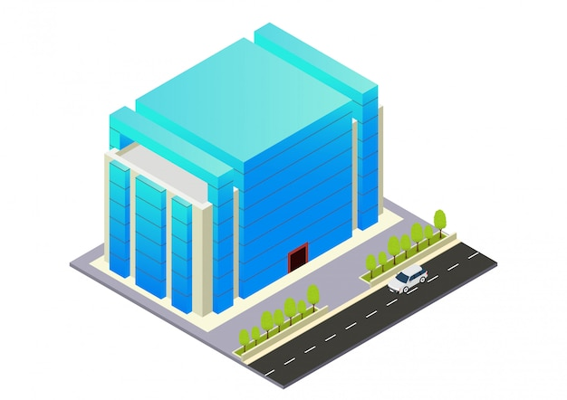 Hôtel, appartement ou immeuble de gratte-ciel isométrique Vecteur Premium
