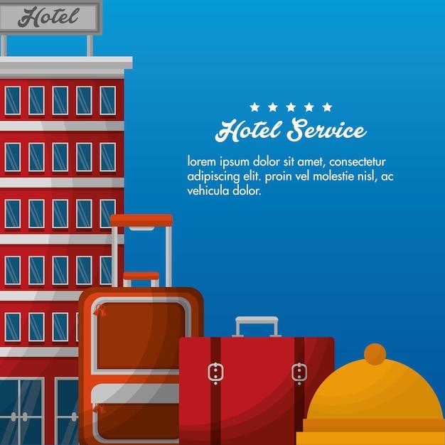 Hôtel bâtiment valises bell service vector illustration Vecteur Premium