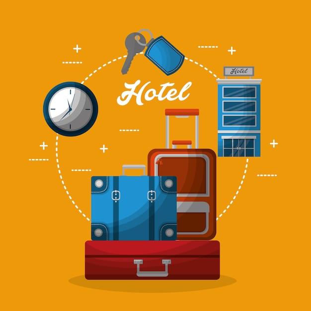 Hôtel bâtiment valises horloge service clé Vecteur Premium