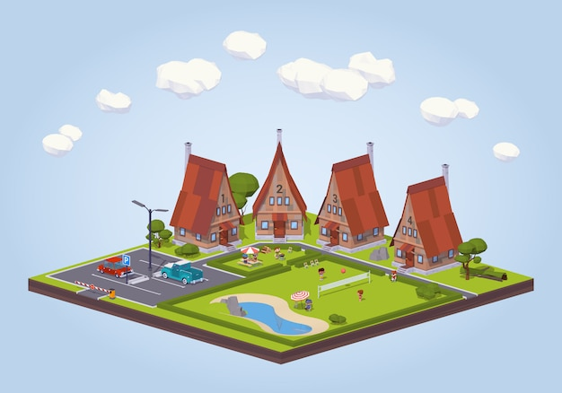 Hôtel isométrique 3d lowpoly avec les cabanes en bois et la zone de loisirs Vecteur Premium