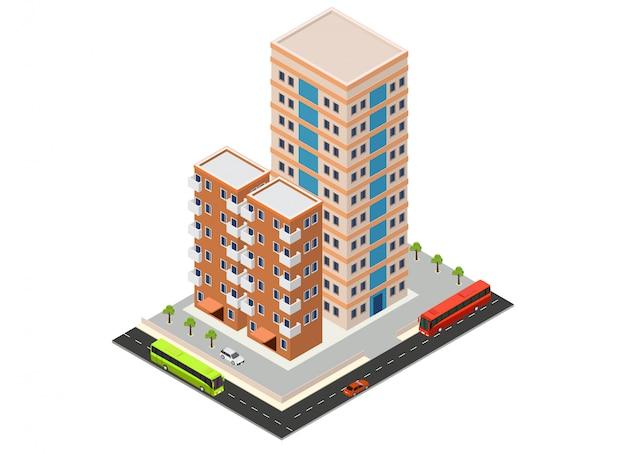Hôtel isométrique ou bâtiment de gratte-ciel Vecteur Premium