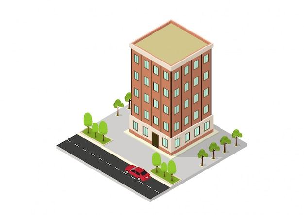 Hôtel Isométrique Vectoriel, Appartement, école Ou Gratte-ciel Vecteur Premium