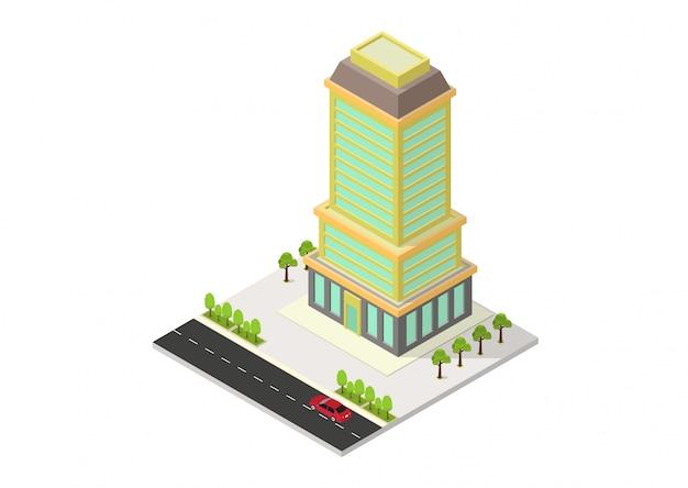 Hôtel Isométrique Vectoriel, Bureau, Appartement Ou Gratte-ciel Vecteur Premium