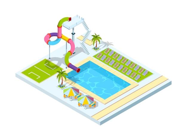 Hôtel Avec Piscine. Illustrations Isométriques Du Parc De Toboggans Aquatiques Vecteur Premium