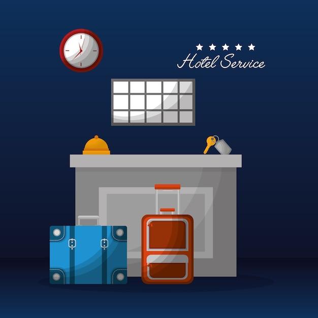 Hôtel service réception valises bell key clock Vecteur Premium