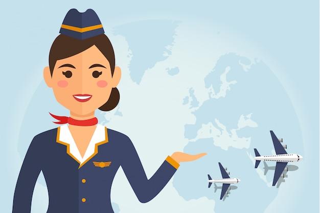 Hôtesse de l'air femme en uniforme avec avion Vecteur Premium