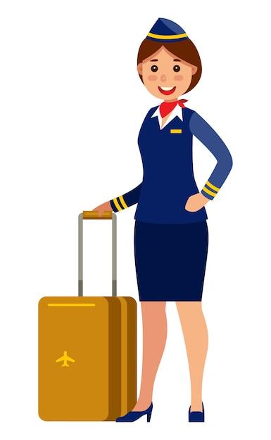 Hôtesse de l'air hôtesse tenant valise Vecteur Premium
