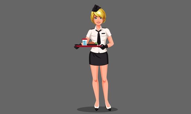 Hôtesse de l'air magnifique avec illustration vectorielle plateau de nourriture Vecteur Premium